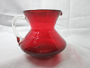 Blown Ruby Crackle Glass Pitcher Small W Clear Handle