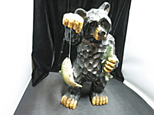 Black Bear with Trout Fish Figurine Statue 13 1/2 inch (Image1)