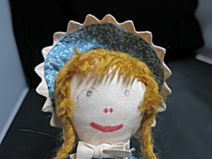 Vintage Cloth Doll With Yarn Braided Hair Painted Face