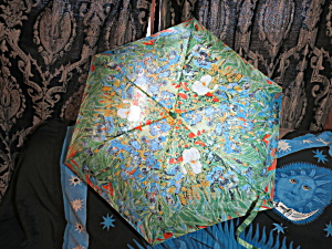 Vintage Umbrella Folding Expanding Floral Abstract