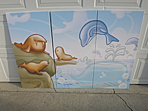 Dolphin Walrus Seal Canvas Art Framed Set Of Three