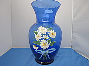 Cobalt Blue Vase Hand Painted Daisy Signed