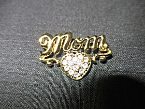 Mom Pin Brooch Heart with Rhinestones Gold Tone (Image1)