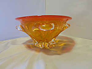 Blinco Blown Art Glass Bowl Orange And Crystal