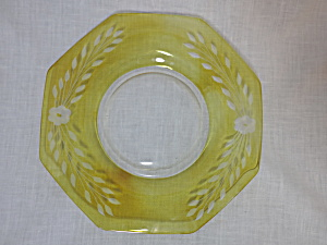 Yellow Hexagon Glass Plate Satin Etched 9 1/2 Inch