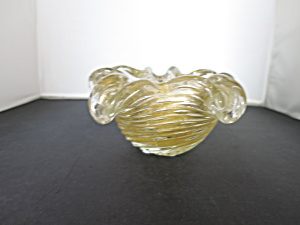 Murano Art Glass Swirl Ribbed Gold Fleck Bowl Yellow Clear (Image1)