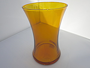 Amber Flared Rim Glass Vase 8 Inch Height