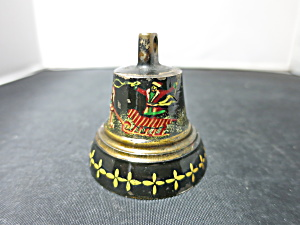 Antique small cast brass bell black lacquer painted Santa Sleigh  (Image1)