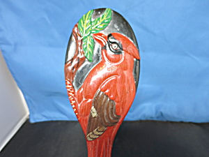 Black Lacquer Painted Hand Mirror With Cardinal Bird Rare Find