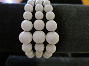 Vintage Three Strand Bracelet White Beads (Image1)