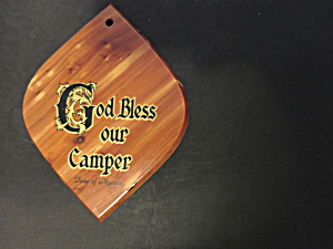 God Bless Our Camper Trees of Mystery Cedar Plaque (Image1)