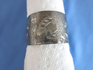 Antique Sterling Silver Napkin Ring Etched Scroll