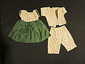Vintage Doll Dress Coat Bloomers 3 piece hand made Floral Green (Image1)