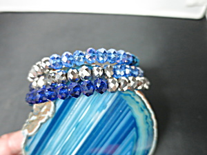 Crystal Bead Coil Bracelet Shades of Blue and Silver Bevel Cut (Image1)