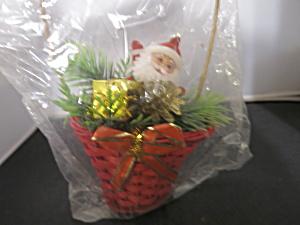 Santa Flocked Dancing Basket Christmas Decoration Ornament  (Image1)