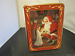 Nabisco Oreo Tin 1991 Waiting for Santa Girl Standing (Image1)