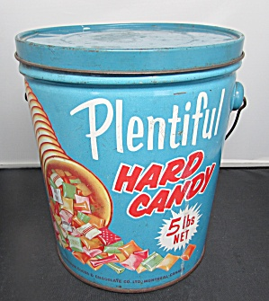Vintage Plentiful Hard Candy Tin Pail