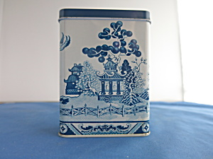 Blue Willow Band Aid tin hinged circa 1960s (Image1)