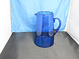 Cobalt Blue Blown Glass Pitcher Applied Handle 8.5 Inch