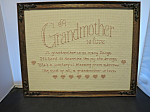 Embroidered Grandmother is Love Framed 1990s (Image1)