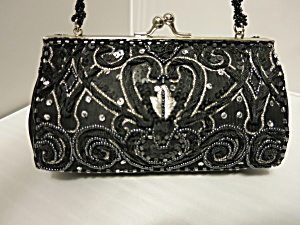 Valerie Stevens Black Box Purse Beaded Sequins