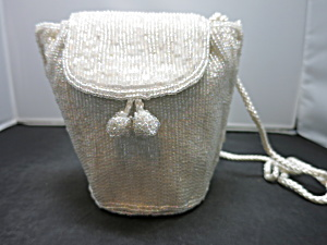 Jessica Mcclintock Bridal White Crystal Beaded Purse