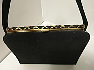 Blucl Black Velvet Purse With Gold Tone Hardware