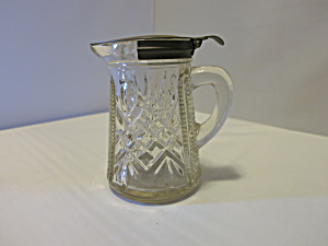 Antique Pressed Glass Syrup Pitcher Tin Spring Lid
