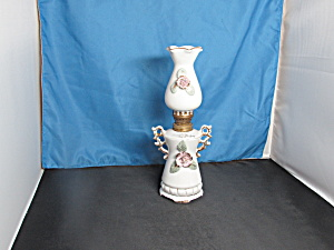 Betson's Porcelain Floral Appliqué Miniature Oil Lamp