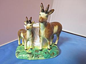 Porcelain Deer Wooden Match Holder Japan (Image1)