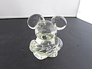 Art Glass Bear Paperweight 1960s Unsigned