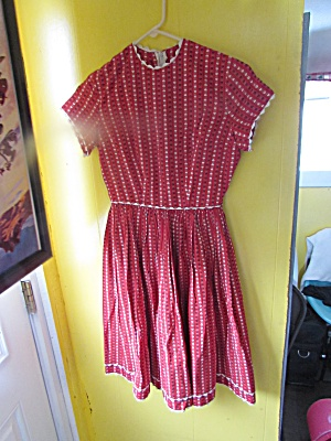 Vintage Girls Dress Age 9 To Pre Teen Red With Hearts