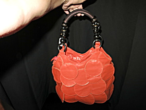 Hand Made Faux Leather Orange Purse Vintage 70s Groovy (Image1)