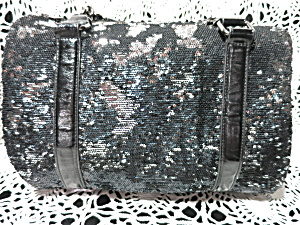 Express Satchel Tote Bag Black And Silver Sequins