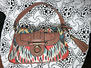 Vintage Chaps Satchel Handbag Purse Indian Wave Motif
