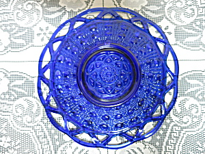 Imperial Art Glass Dot And Sugar Cane Cobalt Blue Plate