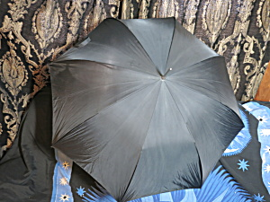 Vintage Umbrella Black With Lucite Grained Hook Handle