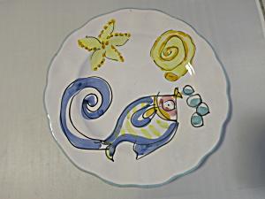 Nautical Bubble Blowing Fish Star Fish Snail Plate (Image1)