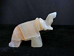 Onyx Carved Miniature Elephant Figurine Trunk Up (Image1)