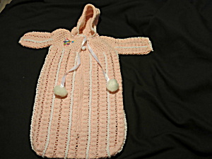 Hand Crochet Pink Baby Bunting 0 - 6 months bunny horn (Image1)