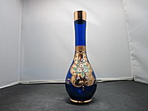 Antique Cobalt Blue Glass Vase Hand Painted Moriage Flo (Image1)