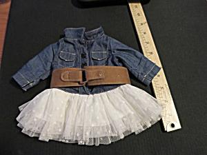 Vintage Doll Dress Blue jean with white Polka Dot Skirt Belted (Image1)