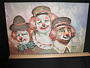 Vintage Clown Oil Painting Signed Longder