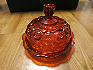 Vintage LE Smith Moon and Star Amberina Glass Cheese Dish (Image1)