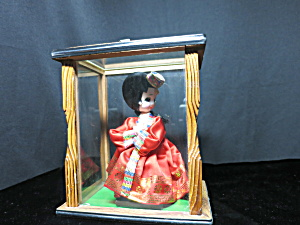 Geisha Girl Doll In Display Case Cloth Painted Face