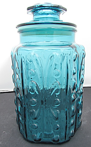 Le Smith Imperial Glass Canister Aqua Blue