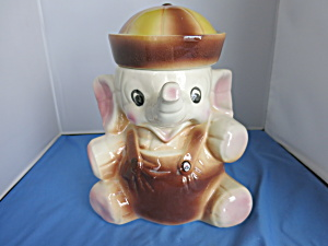 American Bisque Elephant With Sailor Hat Cookie Jar