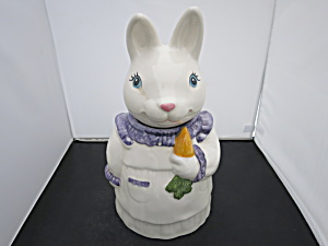 Metlox Pottery Bunny Rabbit Cookie Jar With Carrot