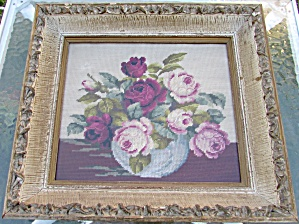 Floral Rose Needlepoint In Gesso Frame Signed And Dated