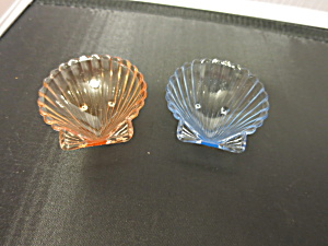 Clam Shell Salt Cellar Pair Aqua Blue And Pink